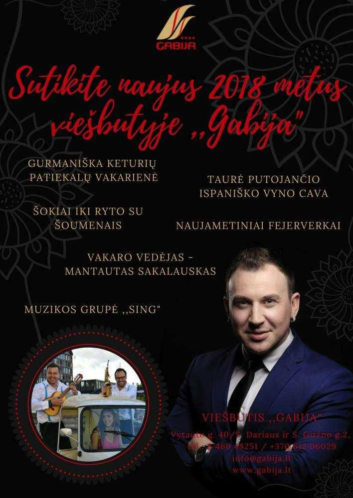 """Naujieji metai 2017 viešbutyje """"Gabija"""""""