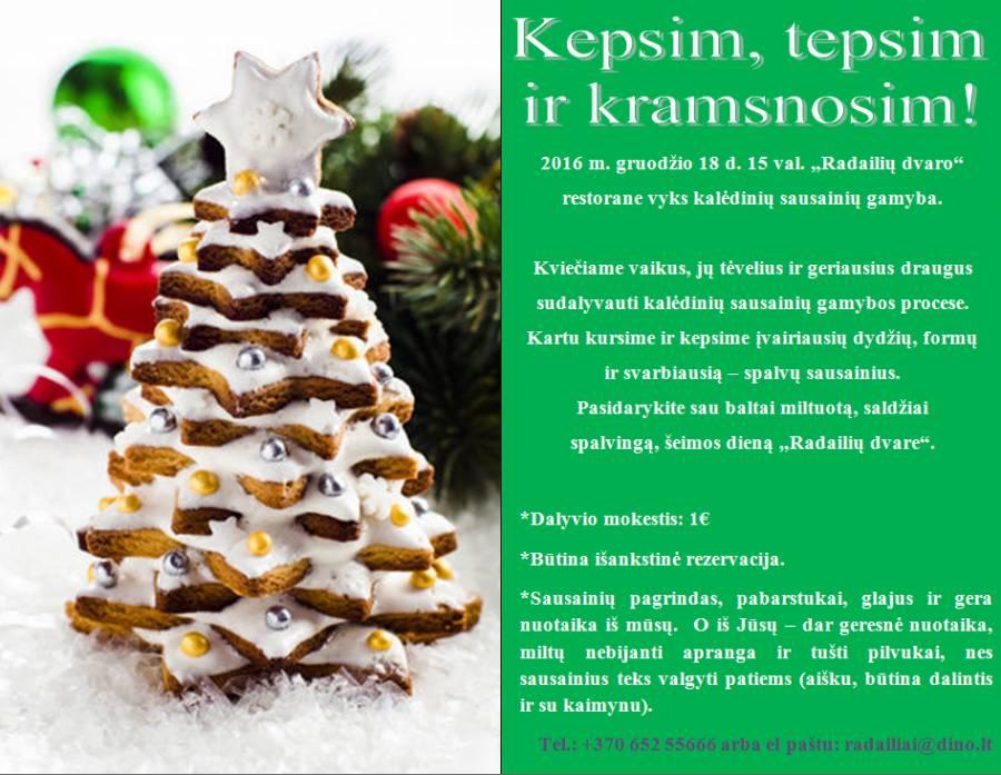 """Kalėdinių sausainių gamyba """"Radailių dvaro"""" restorane gruodžio 18d. 15val."""